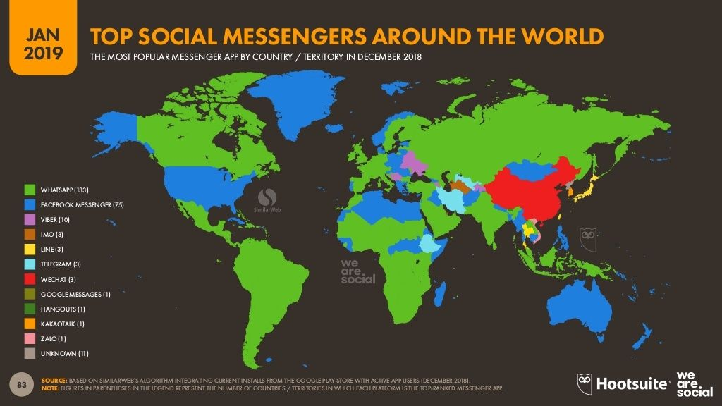 Map of the most popular messaging apps by country