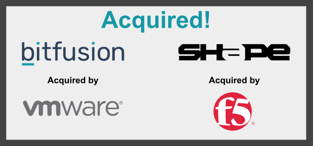 Bitfusion acquired by VMware and Shape Security acquired by F5 Networks